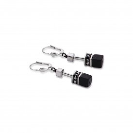 Coeur De Lion Geo Cube Black-Silver Earrings ~ 4015/20-1317