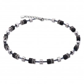 Coeur De Lion Geo Cube Black-Silver Necklace ~ 4015/10-1317