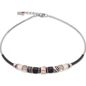 Coeur De Lion Geo Cube Frontline Black Necklace