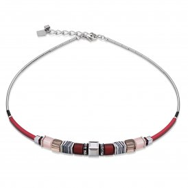 Coeur De Lion Geo Cube Frontline Red Necklace ~ 4766/10-0300