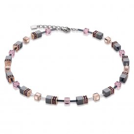 Coeur De Lion Geo Cube Pink Necklace ~ 4015/10-1900