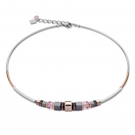 Coeur De Lion Geo Cube Pink Necklace