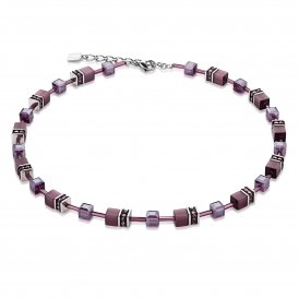 Coeur De Lion Geo Cube Purple Necklace ~ 4322/10-0800