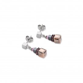 Coeur De Lion Geo Cube Rose Earrings