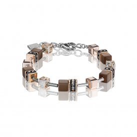 Coeur De Lion GeoCube Bracelet Brown ~ 4016/30-1100