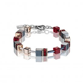 Coeur De Lion GeoCube Bracelet Red ~ 4015/30-0300