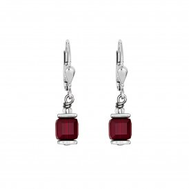 Coeur De Lion GeoCube Earrings Dark Red ~ 0094/20-0321