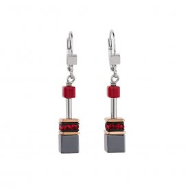 Coeur De Lion GeoCube Earrings Red ~ 4015/20-0300