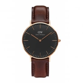 Daniel Wellington Classic Black Bristol Rose Gold Gents Watch