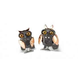 Deakin & Francis Rhodium Moving Owl Cufflinks