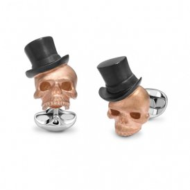 Deakin & Francis Rose Gold Skull Top Hat Cufflinks