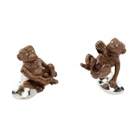 Deakin & Francis Silver Brown Cheeky Monkey Cufflinks
