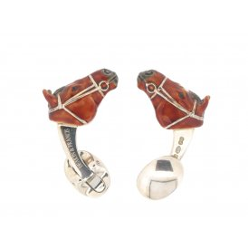Deakin & Francis Silver Horse Head Cufflinks with Brown Enamel
