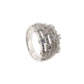 18ct White Gold 5-Row Diamond Ring