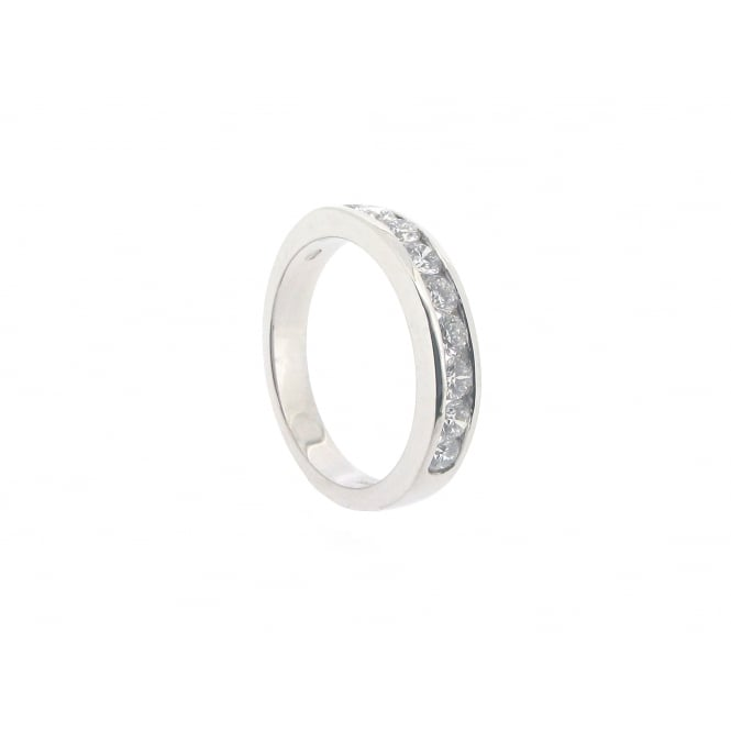 Diamonds 18ct White Gold 9-Stone Half-Eternity Diamond Ring ~ 13280PI