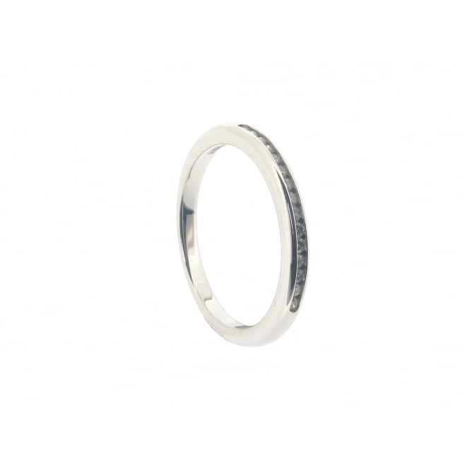Diamonds 18ct White Gold Channel-Set Half Eternity Diamond Ring ~ 11952P16