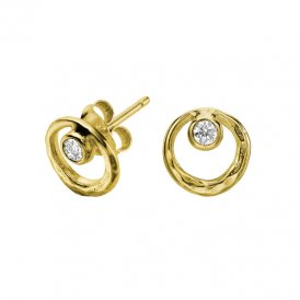 Dower & Hall Dewdrop Circle Gold Earrings ~ DNE224-V-WT
