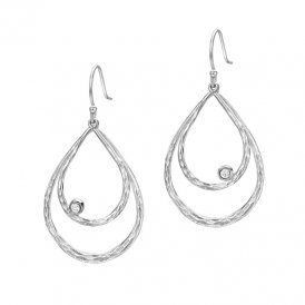 Dower & Hall Dewdrop Large Teardrop Silver Earrings ~ DNE229-S-W