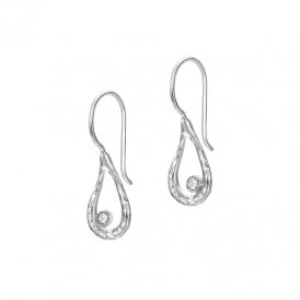 Dower & Hall Dewdrop Teardrop Silver Earrings ~ DNE225-S-WT
