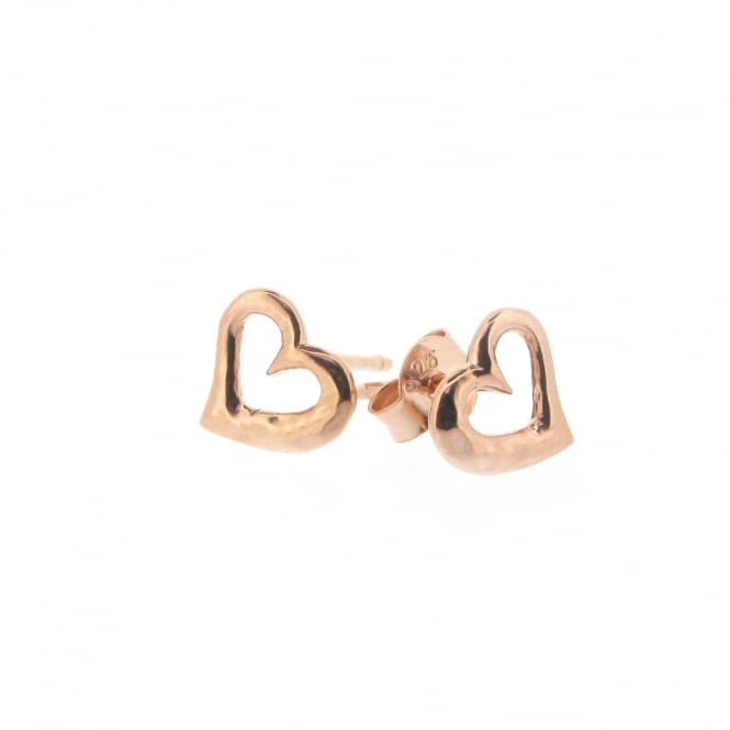 Dower & Hall Entwined Open Heart Earrings Rose Gold ~ EWE30-VR