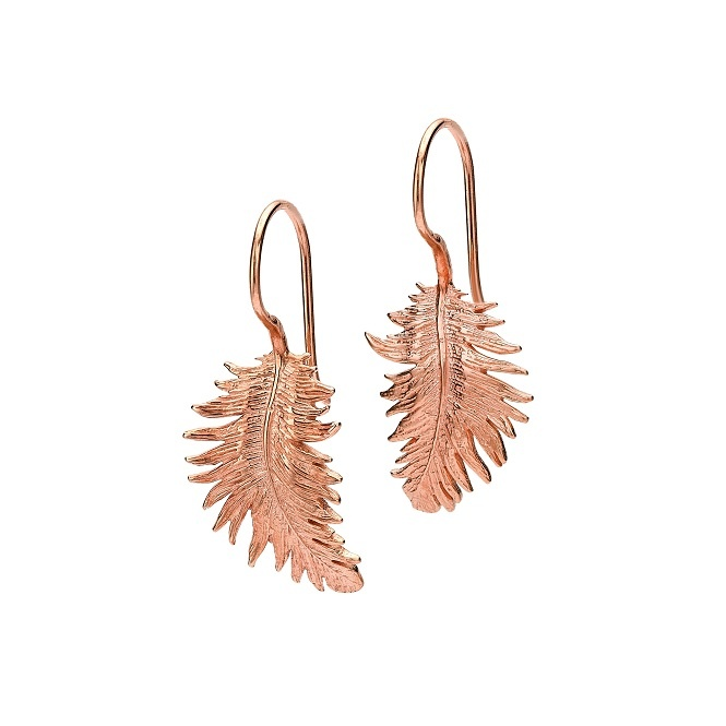 Dower & Hall Feather Drop Earrings Rose Gold Medium ~ FE15-VR