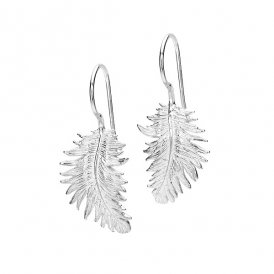Dower & Hall Feather Medium Silver Earrings ~ FE15-S