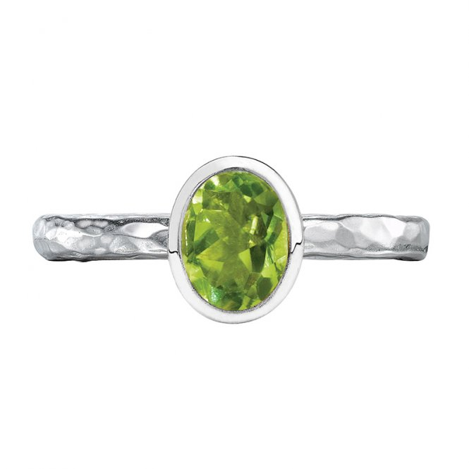 Dower & Hall Hammered Twinkle Ring Peridot M ~ TWR46-S-PERI-M