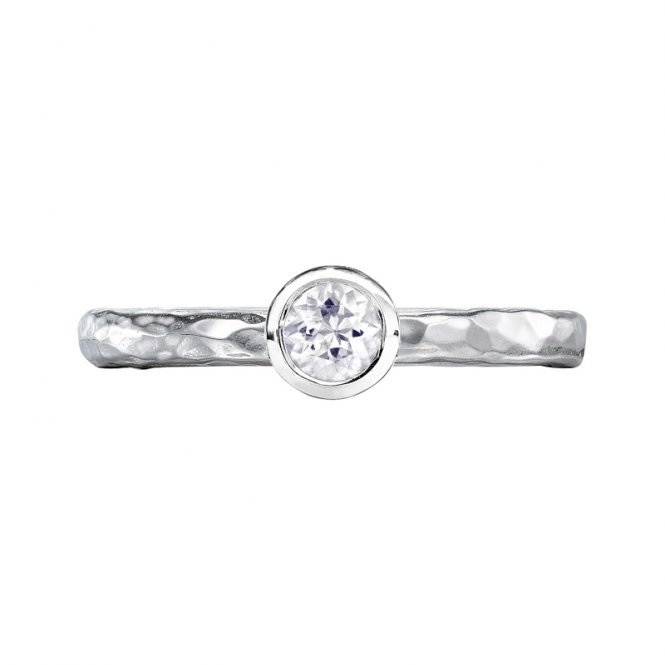Dower & Hall Hammered Twinkle Ring Sapphire M ~ TWR24-S-WSAPP-M