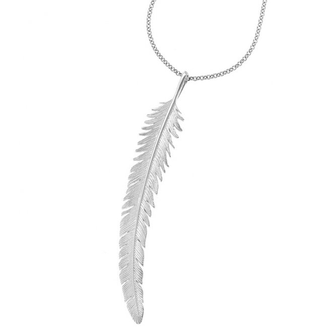 Dower & Hall Long Feather Pendant Silver ~ FP22-S-30