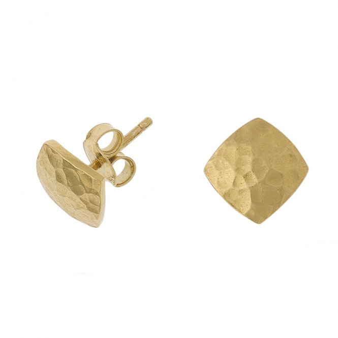Dower & Hall Nomad Flat Square Gold Earrings ~ NE235-S