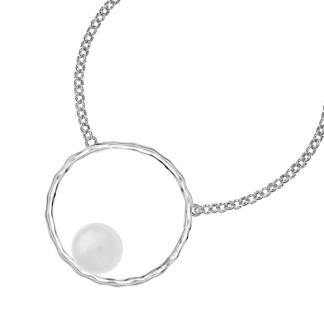 Dower & Hall Open Circle Pearl Necklace White ~ LUP11-S-WP-18