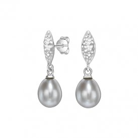 Dower & Hall Silver Marquise Grey Pearl Earrings ~ LUE42-S-DGP