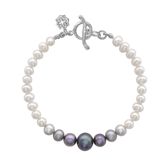 Dower & Hall Silver Ombre Pearl Bracelet ~ LUB50-S