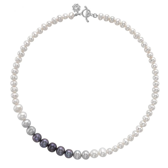 Dower & Hall Silver Ombre Pearl Necklace ~ LUN50-S-18