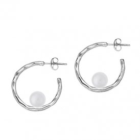 Dower & Hall Silver Small White Edison Ripple Hoops ~ LUE10-S-WP