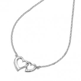 Dower & Hall Small Entwined Love Hearts Pendant - Silver ~ EWP31-S-18