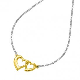 Dower & Hall Small Entwined Love Hearts Pendant - Silver/Gold ~ EWP31-S-V-18