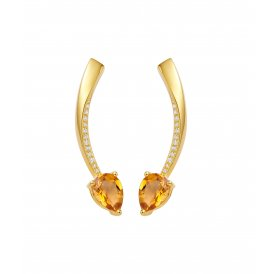 Fei Liu Shooting Star Short Earrings Citrine ~ STR-925G-201-CTCZ
