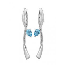 Fei Liu Shooting Star Two-Part Earrings Blue Topaz ~ STR-925R-205-BTCZ