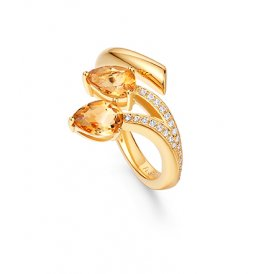 Fei Liu Shooting Star Two-Stone Ring Citrine ~ STR-925G-002-CTCZ