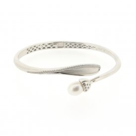 Fei Liu Snowdrop Leaf Detail Bangle Rhodium ~ SDP-925R-403-CZ0