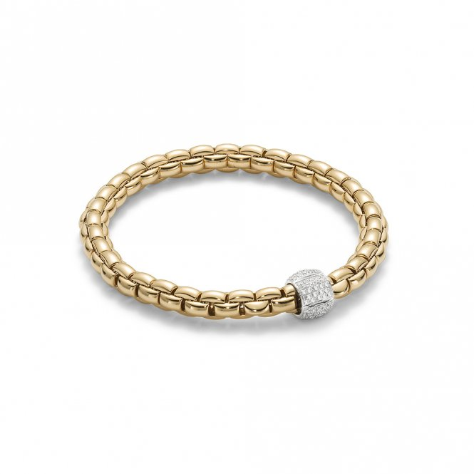 Fope Eka Bracelet - Yellow Gold/Diamond - Medium ~ 701BPAVEM-GB