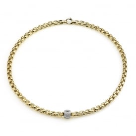 Fope Eka Necklace - Yellow Gold/Diamond - 43cm ~ 701CPAVE-GB