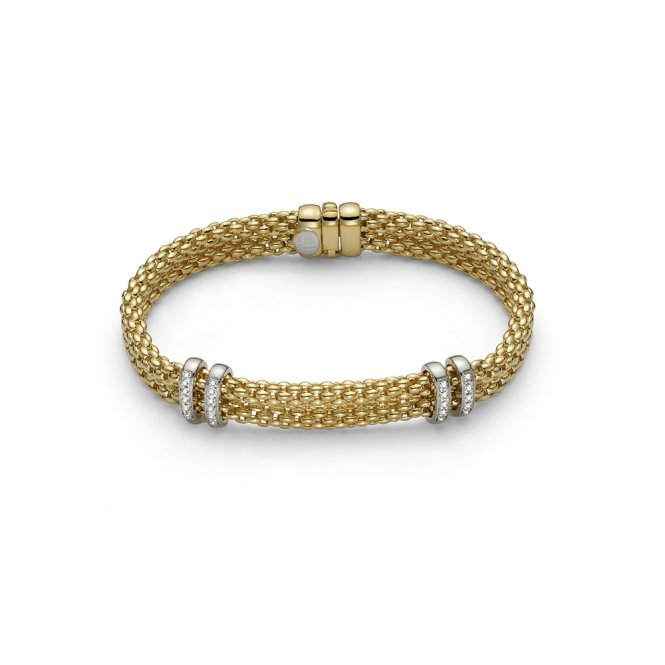 Fope Maori Bracelet - Yellow Gold/Diamond - 19cm ~ 862BBBR-GB