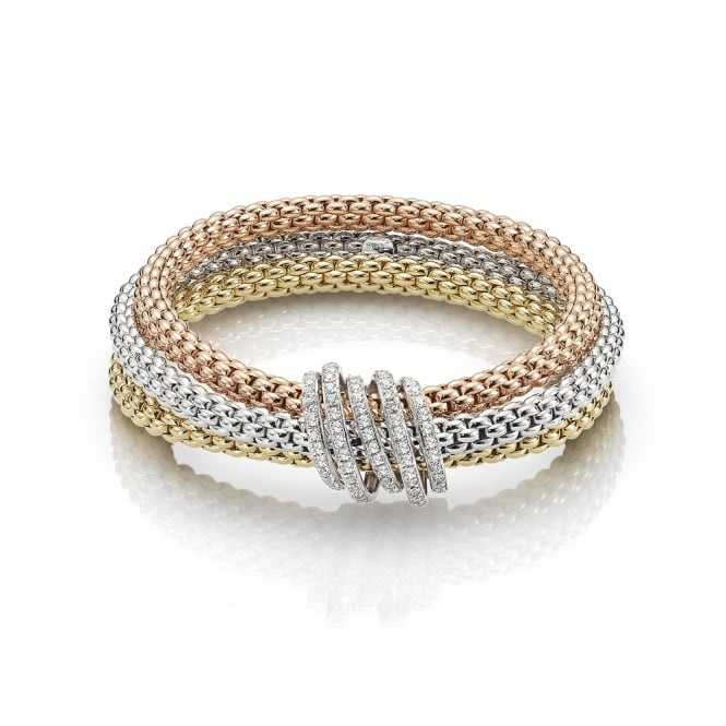 Fope Mialuce Bracelet - Mixed Gold/Diamond - Medium ~ 651BPAVEM-GBR