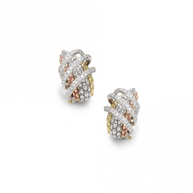 Fope Mialuce Earrings - Mixed Gold/Diamond~ OR651PAVE-GBR