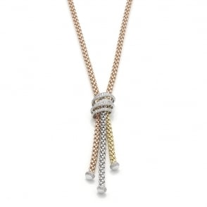 Fope Mialuce Necklace - Mixed Gold/Diamond - 43cm ~ 651CPAVE-GBR