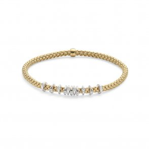 Fope Prima Bracelet - Yellow Gold/Diamond - Medium ~ 747BBBRM-GB