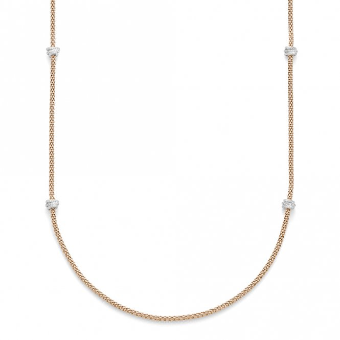 Fope Prima Necklace - Rose Gold/Diamond - 80cm ~ 744CPAVE80-BR