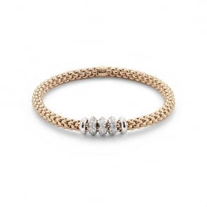 Fope Solo Bracelet - Rose Gold/Diamond - Medium ~ 655BBBRM-BR